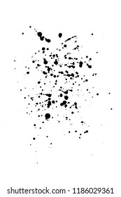 Vector artistic ink, watercolor splashes, ink blots. Black splatter. Grunge paint splotches.- stock vector