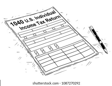 Vector artistic pen and ink drawing illustration of 1040 Income Tax Return Form.