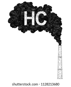 Vector artistic pen and ink drawing illustration of smoke coming from industry or factory smokestack or chimney into air. Environmental concept of HC or hydrocarbon pollution.