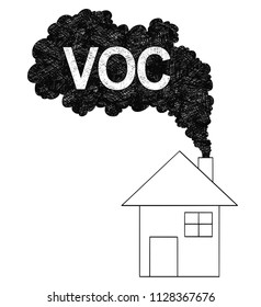 Vector artistic pen and ink drawing illustration of smoke coming from house chimney into air. Environmental concept of VOC or volatile organic compound pollution.