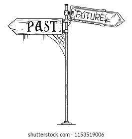 Vector artistic pen and ink drawing illustration of traffic arrow sign with past and future text. Both arrows are damaged and dirty. Concept of pessimistic expectations.