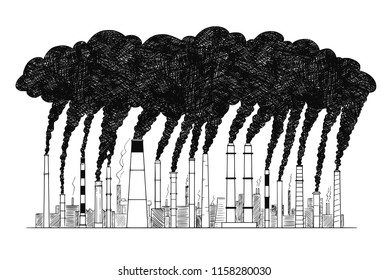 Vector artistic pen and ink drawing illustration of smoke coming from industry or factory smokestacks or chimneys into air. Environmental concept of air pollution.