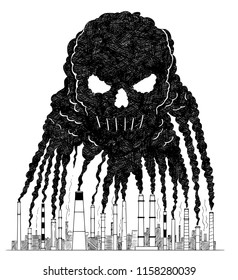 Vector artistic pen and ink drawing illustration of smoke coming from industry or factory smokestacks or chimneys creating human skull shape into air. Environmental concept of toxic and deadly air