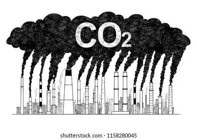 Vector artistic pen and ink drawing illustration of smoke coming from industry or factory smokestacks or chimneys into air. Environmental concept of carbon dioxide or CO2 air pollution.