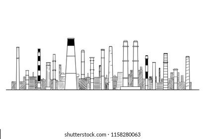 Vector artistic pen and ink drawing illustration of industrial or factory smokestacks or chimneys.