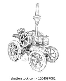 Vector artistic pen and ink drawing of old tractor. Tractor was made in Germany in 1923 or 20's.