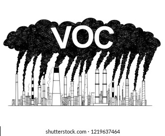 Vector artistic pen and ink drawing illustration of smoke coming from industry or factory smokestacks or chimneys into air. Environmental concept of air pollution and VOC or volatile organic compound