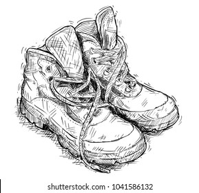 Vector artistic pen and ink hand drawing illustration of pair of worn hiking boots.