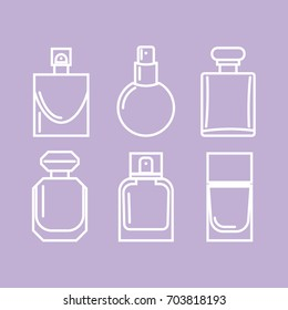 Vector artistic perfume sketch icons