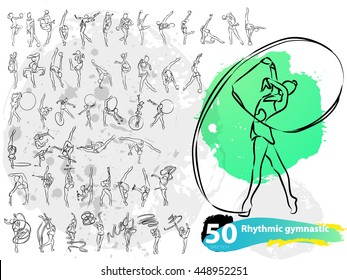 Vector artistic Rhythmic Gymnastic sketch collection. Hand drawn stroke outline, sketching for graphic design, poster, banner, flayer, billboard, placard, competition. Art grange style illustration.