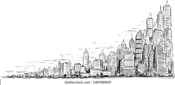 Vector artistic sketchy pen and ink drawing illustration of generic city high rise cityscape landscape with skyscraper buildings, Business and Government Buildings.
