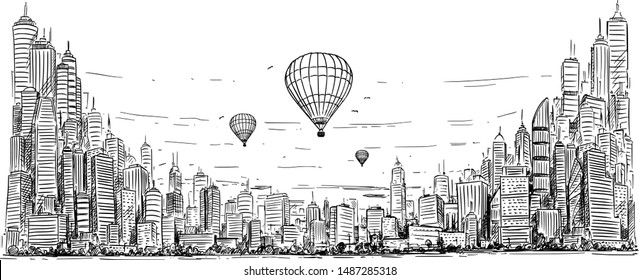 Vector artistic sketchy pen and ink drawing illustration of hot air balloons over generic city high rise cityscape landscape with skyscraper buildings, business and government buildings.