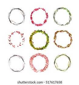 Vector artistic watercolor christmas and new year decoration floral round wreath isolated on white background collection. Hand drawn decoration laurel element set. Good for xmas design.