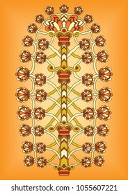 Vector artwork of ancient Mesopotamia depicting the Assyrian Tree Of Life relief ornament made of geometric leaves and shapes with vintage colors on a gradient background.