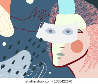 Vector artwork. Person holding mask in hand. Mask is a symbol of mystery or lies. Illustration with abstract details.
