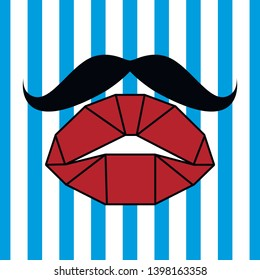 Vector artwork for print on fabric, jersey, wallpaper, poster. For women's underwear, sleepwear, home wear. Baby girl fashion collection. Line draw lips elements. Sweet style.