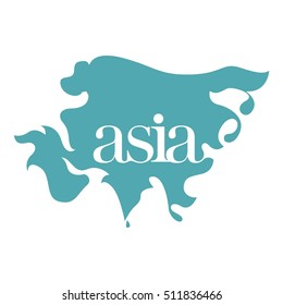 vector asia map in a decorative style