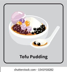 Vector asia traditional food sweet dessert, douhua, tofu pudding, red beans, tapioca balls, taro balls and taro ice cream.
