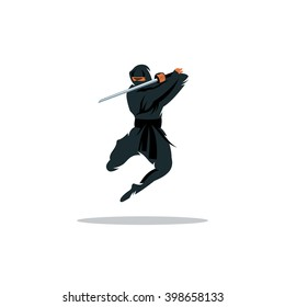 Vector Asian Ninja Cartoon Illustration. Assasin fighter. Warrior in black dress blade strikes in a jump. Unusual Logo template isolated on a white background