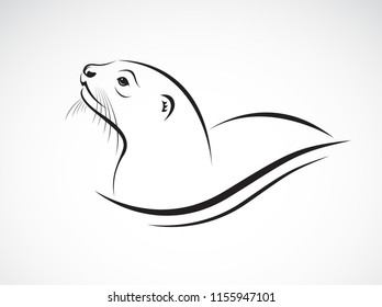 Vector of Asian Otter, Aonyx cinerea or Oriental Small-clawed Otter on whiet background. Animals.  Easy editable layered vector illustration.