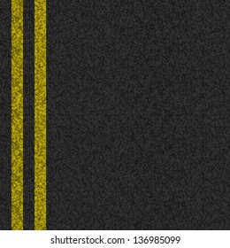 Vector asphalt background texture with two yellow stripes in eps10