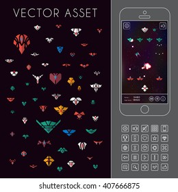 Vector asset for space game interface. Spacecraft sprites and icons
