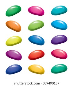 vector assortment of colorful fruit gelatin jelly beans