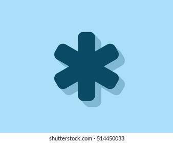 Vector asterisk symbol icon with long shadow effect