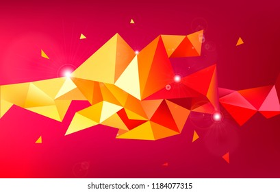 Vector astract 3d geometric shape isolated. Faceted, crystal, origami triangles background. Use for banner, cover, brochure, flyer, web app. Red concept