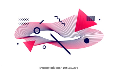Vector astract design. Avant-garde style abstract illustration with guilloche waveform element.
