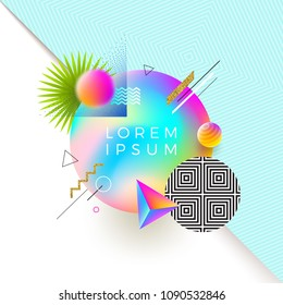 Vector astract design with multicolored gradient banner for text or message and different geometric, linear and stipple shapes. Abstract multicolored composition.