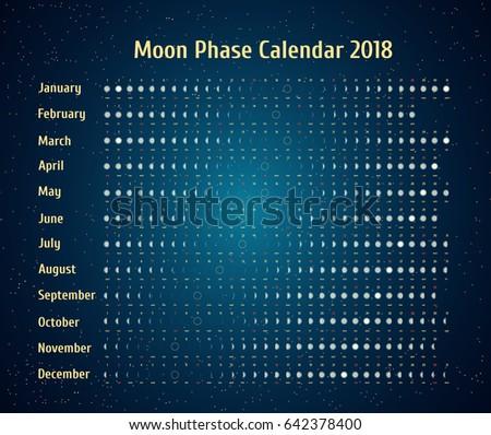 vector astrological calendar for 2018 moon phase calendar in the night starry sky creative