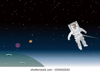 vector astronaut is blowing on the space