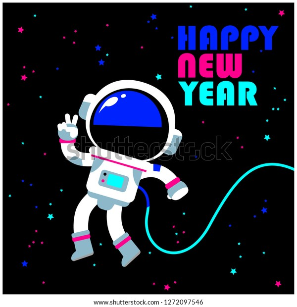 Vector Astronaut Floating Space Happy New Stock Vector Royalty