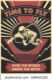 Vector Astronaut in Open Space Poster. Obey Style