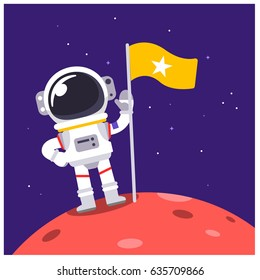 Vector Astronaut Standing on some Planet with a flag in the Space