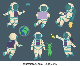 Vector astronauts in space, working character and having fun spaceman galaxy atmosphere system fantasy traveler man.