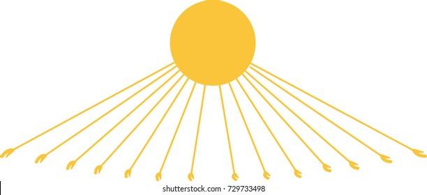 Vector Aten (Aton), an ancient Egyptian god of sun