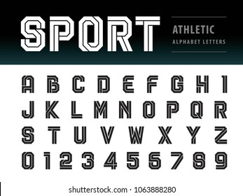 Vector of Athletic Alphabet Letters and numbers, Geometric Font, Sport, Futuristic Future, Bold Letters set for Force, school, army, power, academy, College, University, fitness, sportswear, gym