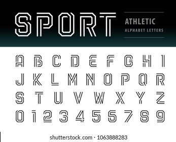 Vector of Athletic Alphabet Letters and numbers, Geometric Font, Sport, Futuristic Future, Thin Letters set for Force, school, army, power, academy, College, University, fitness, sportswear, gym