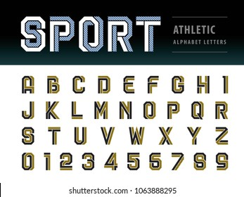 Vector of Athletic Alphabet Letters and numbers, Geometric Font Sport, Futuristic Future, Fill & Line Letters set for Force, school, army, power, academy, College, University, fitness, sportswear, gym