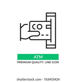 Vector ATM icon. Hand holding credit card inserting it into the ATM. Premium quality graphic design element. Modern sign, linear pictogram, outline symbol, simple thin line icon