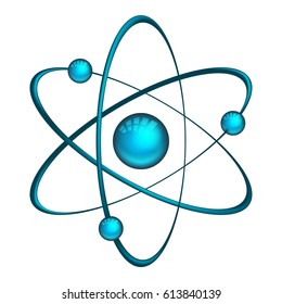 Vector atom. Illustration of model with electrons and neutron isolated on white background
