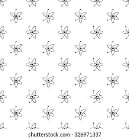 Vector atom seamless pattern background.