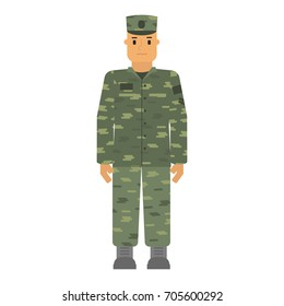 Vector attention soldier man in camouflage isolated on white background