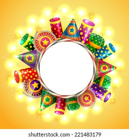 Vector attractive background of diwali with crackers