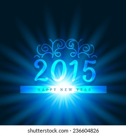 vector attractive background of new year 2015 with floral