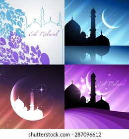 vector attractive background set of ramadan kareem festival with mosque illustration