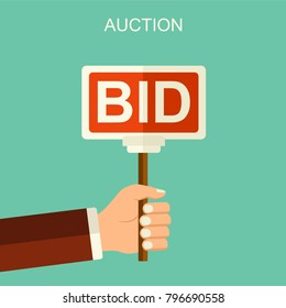 Vector auction and bidding concept. Hand holding auction paddle. Flat vector illustration with hand and banner BID.