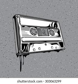 Vector audio cassette in graffiti style